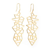 Ona Chan Long Multi Lattice Drop Earrings Yellow Gold