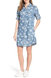 Kut From The Kloth Women's Ruthy Print Chambray Shirtdress Blue