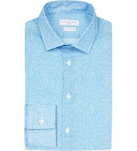 Richard James Contemporary Fit Geometric Print Cotton Shirt Aqua