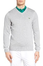 Lacoste Men's Sport Golf Sweater Silver Chine Navy Blue White
