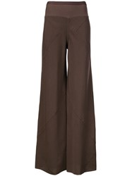 Rick Owens Flared Trousers Brown