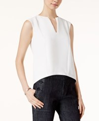 Armani Exchange Textured Split Neck Shell White