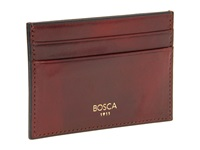 Bosca Old Leather Collection Front Pocket Wallet W Money Clip Cognac Leather Bill Fold Wallet Brown