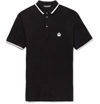 Dolce And Gabbana Slim Fit Cotton Piqua Polo Shirt Black