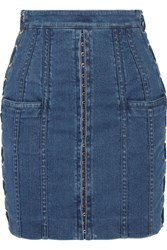 Balmain Lace Up Stretch Denim Mini Skirt Mid Denim