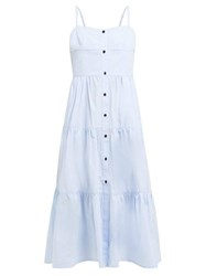 Solid And Striped Tiered Cotton Dress Light Blue