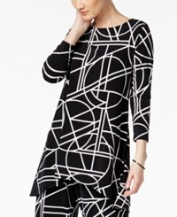 Alfani Geo Print High Low Tunic Top Only At Macy's Black White Stained Glass