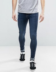 Brooklyn Supply Co. Co Muscle Fit Extreme Skinny Jeans With Distressing Indigo Blue