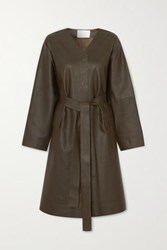 Remain Birger Christensen Savona Belted Leather Coat Army Green