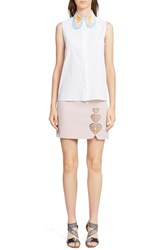 Women's Christopher Kane Heart Collar Sleeveless Cotton Shirt