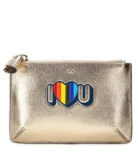 Anya Hindmarch I Love You Small Loose Pocket Metallic Leather Pouch Gold
