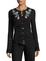 Nanette Lepore Lovesong Embroidered Cardigan Black