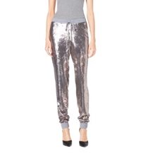 Michael Kors Sequined Jersey Track Pants Pearl Heather