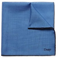 Drakes Wool And Silk Blend Pocket Square Blue