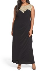 Alex Evenings Plus Size Women's Embroidered Yoke Side Ruched Long Dress