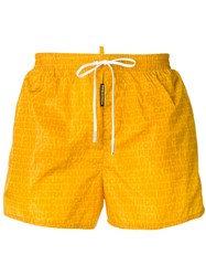 Dsquared2 All Over Logo Swim Shorts Yellow