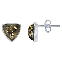 Goldmajor Green Amber Triangular Stud Earrings Silver Green