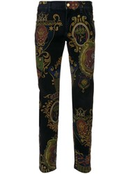 Dolce And Gabbana Crest Print Trousers Blue