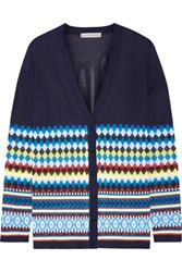 Mary Katrantzou Deino Jacquard Knit Cardigan Midnight Blue