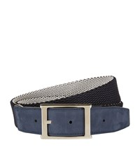 Canali Suede Trimmed Woven Belt Unisex Multi