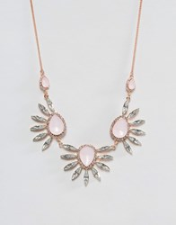 Johnny Loves Rosie Statement Gem Necklace With Fan Detail Gold Amber