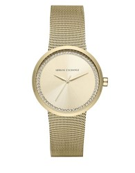 Armani Exchange Stainless Steel Mesh Bracelet Watch Gold