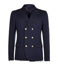 Alexander Mcqueen Distressed Denim Blazer Male Blue