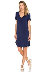 Heather V Neck Pocket Tee Dress Blue