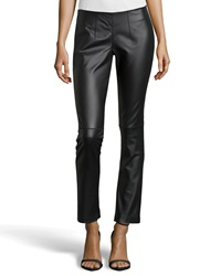 Neiman Marcus Leather Ponte Combo Leggings Black
