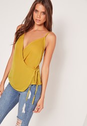 Missguided Satin Wrap Tie Cami Top Chartreuse Green Chartreuse