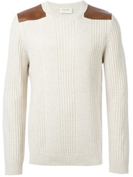 A.P.C. Faux Leather Panel Sweater Nude And Neutrals