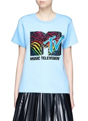 Marc Jacobs X Mtv Sequin Logo Embroidered Bonded T Shirt Blue