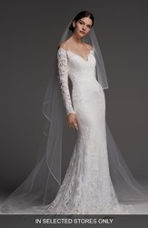 Watters Visconti Long Sleeve Lace Gown Ivory Oyster