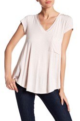 H By Bordeaux Striped V Neck Tee Pink