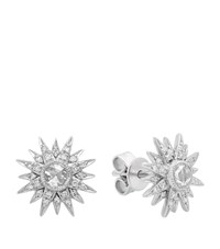 Kenza Lee Sunburst Stud Earrings Female White Gold