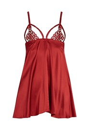 Coco De Mer Alyssa Embroiderd Lace And Satin Camisole Red