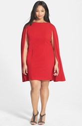 Plus Size Women's Adrianna Papell Cape Sheath Dress Red