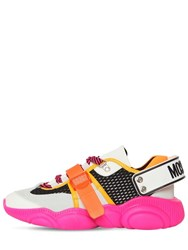Moschino 30Mm Mesh And Suede Sneakers White Orange