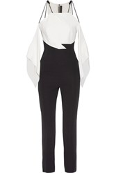 Roland Mouret Benford Cutout Two Tone Stretch Cady Jumpsuit Ivory