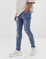 Sik Silk Siksilk Skinny Jeans In Light Blue With Distressing
