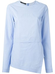 Cedric Charlier Asymmetric Long Sleeve Top Blue
