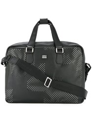 Cerruti 1881 Punch Hole Detailed Briefcase Black