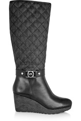 Michael Michael Kors Aaran Quilted Paneled Leather Knee Boots Black