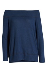 Gibson X Living In Yellow Mary Fleece Off The Shoulder Top Navy