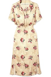 Golden Goose Deluxe Brand Vanilla Belted Floral Print Satin Midi Dress Cream Gbp