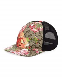 Gucci Blooms Gg Supreme Canvas Baseball Cap Brown Pink