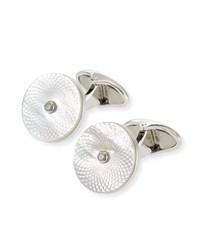 Dunhill Engine Turn Diamond And Mother Of Pearl Cuff Links Silver