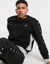Lacoste Sport Sweatshirt With Brand Taping In Black