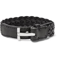 Tom Ford Woven Leather And Silver Tone Bracelet Black