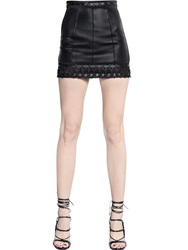 Dsquared Nappa Leather Mini Skirt With Trim Black